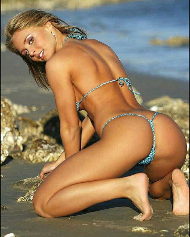 String bikini bent over