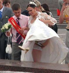 Upskirt no panties wedding dress