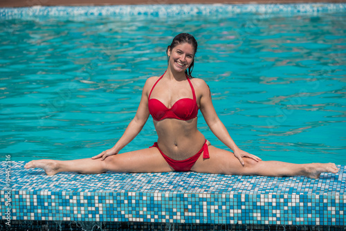Wife bikini swimming pool