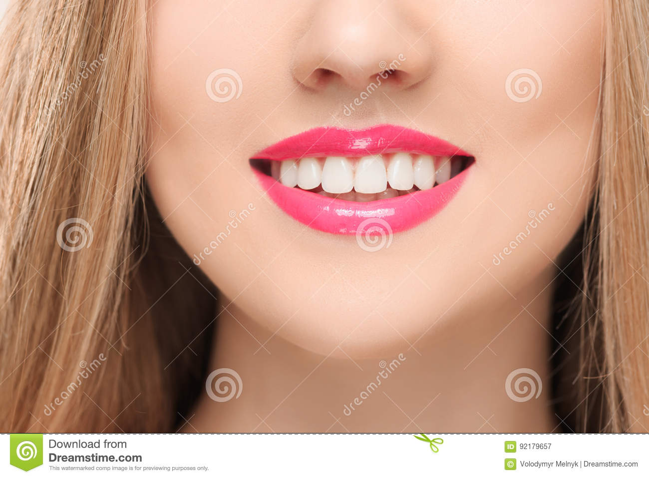 Blonde girl open mouth close up