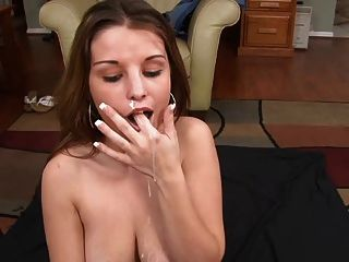 Blowjob with cumming in her mouth