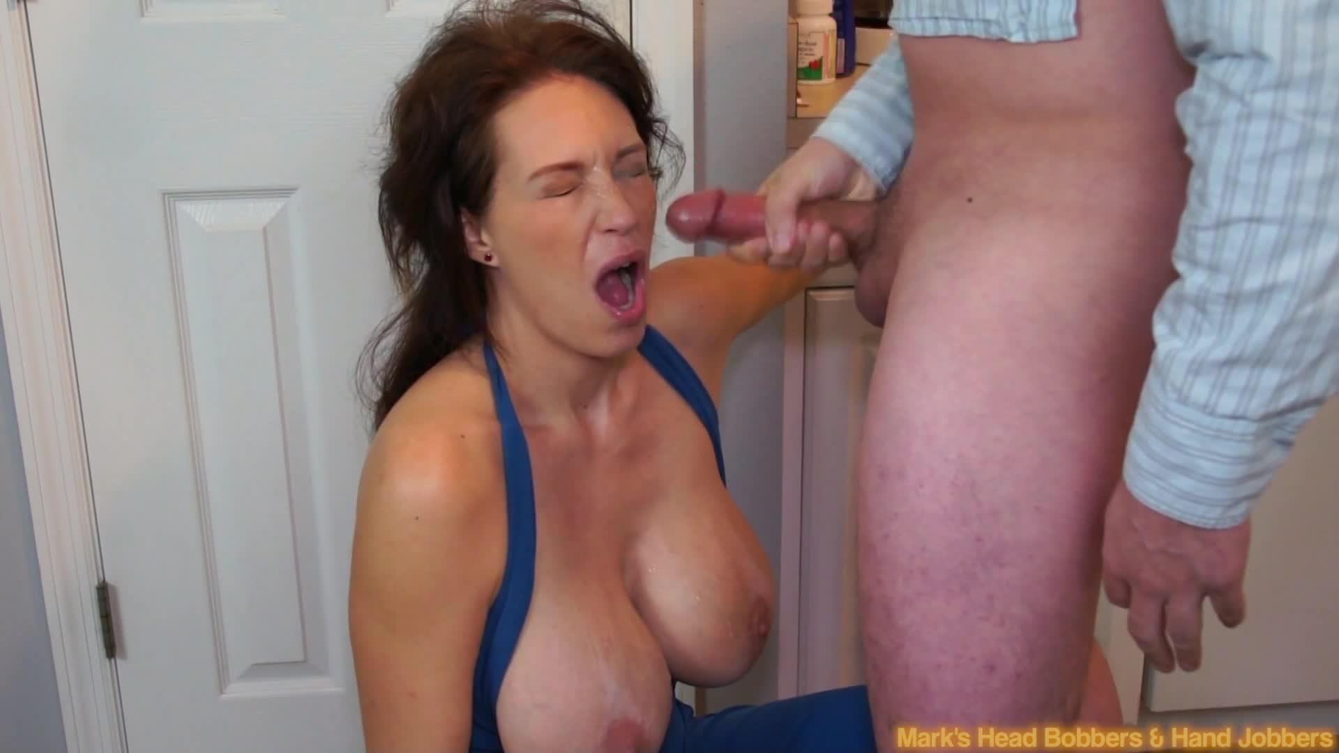 Big tits cum facial