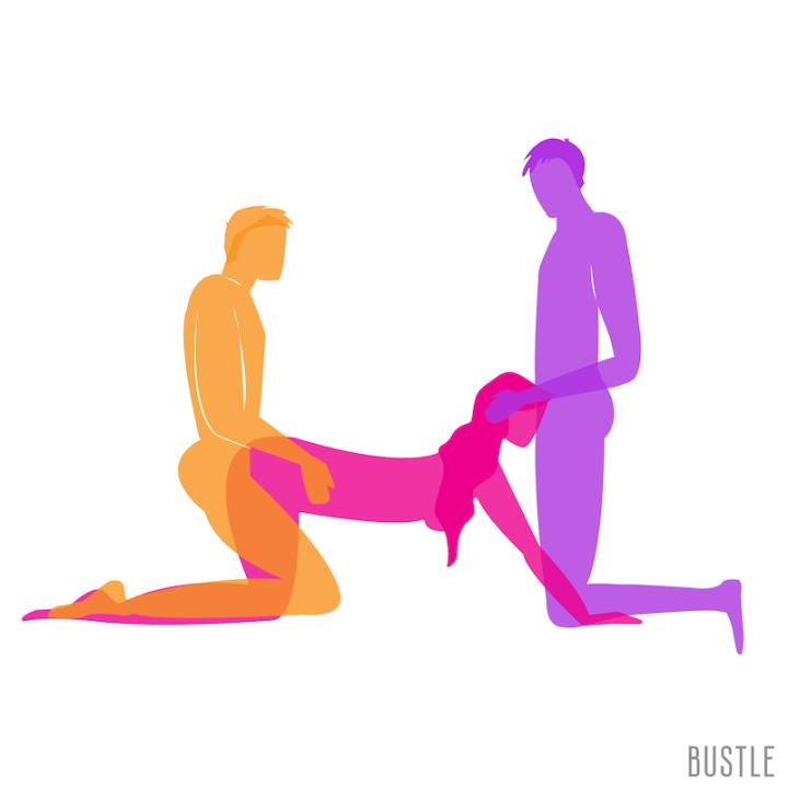 Spit roast sex position