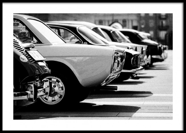Black car vintage white
