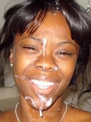 Cum facial amateur ebony