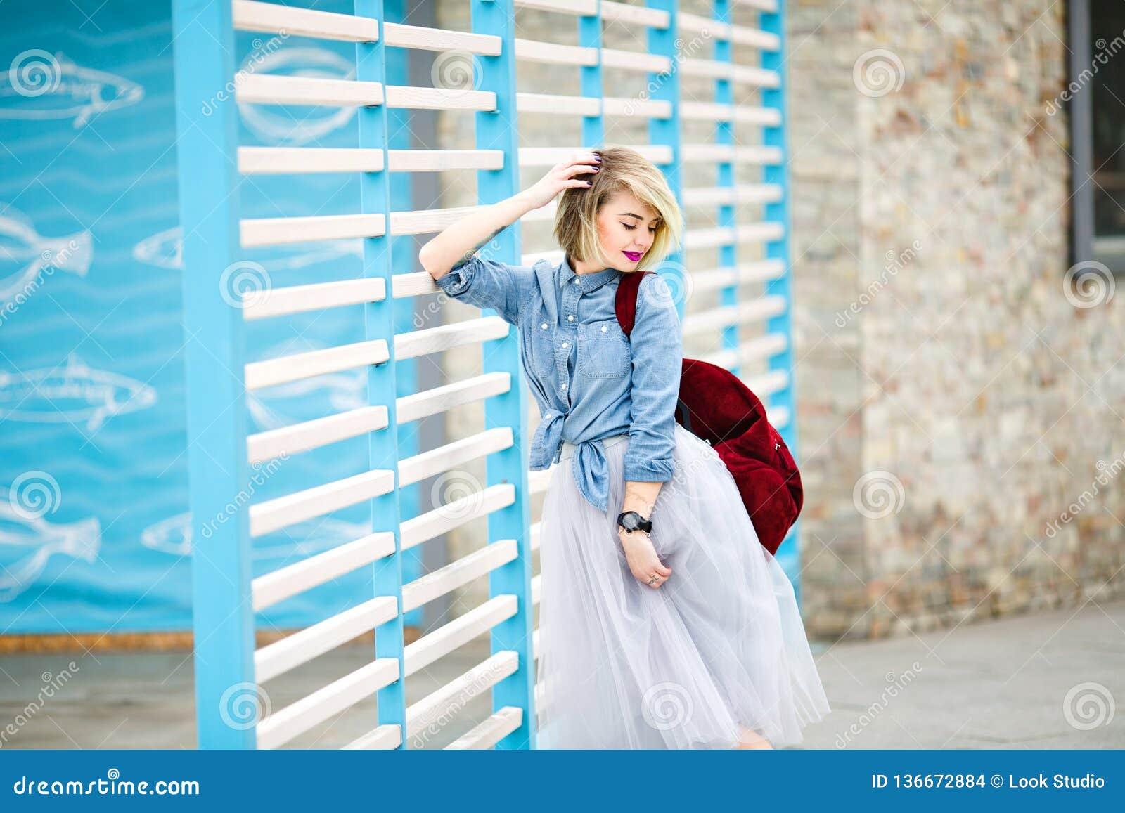 White blonde naked girl standing up