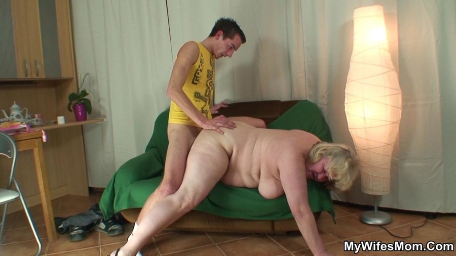 Fat mom fucks her son