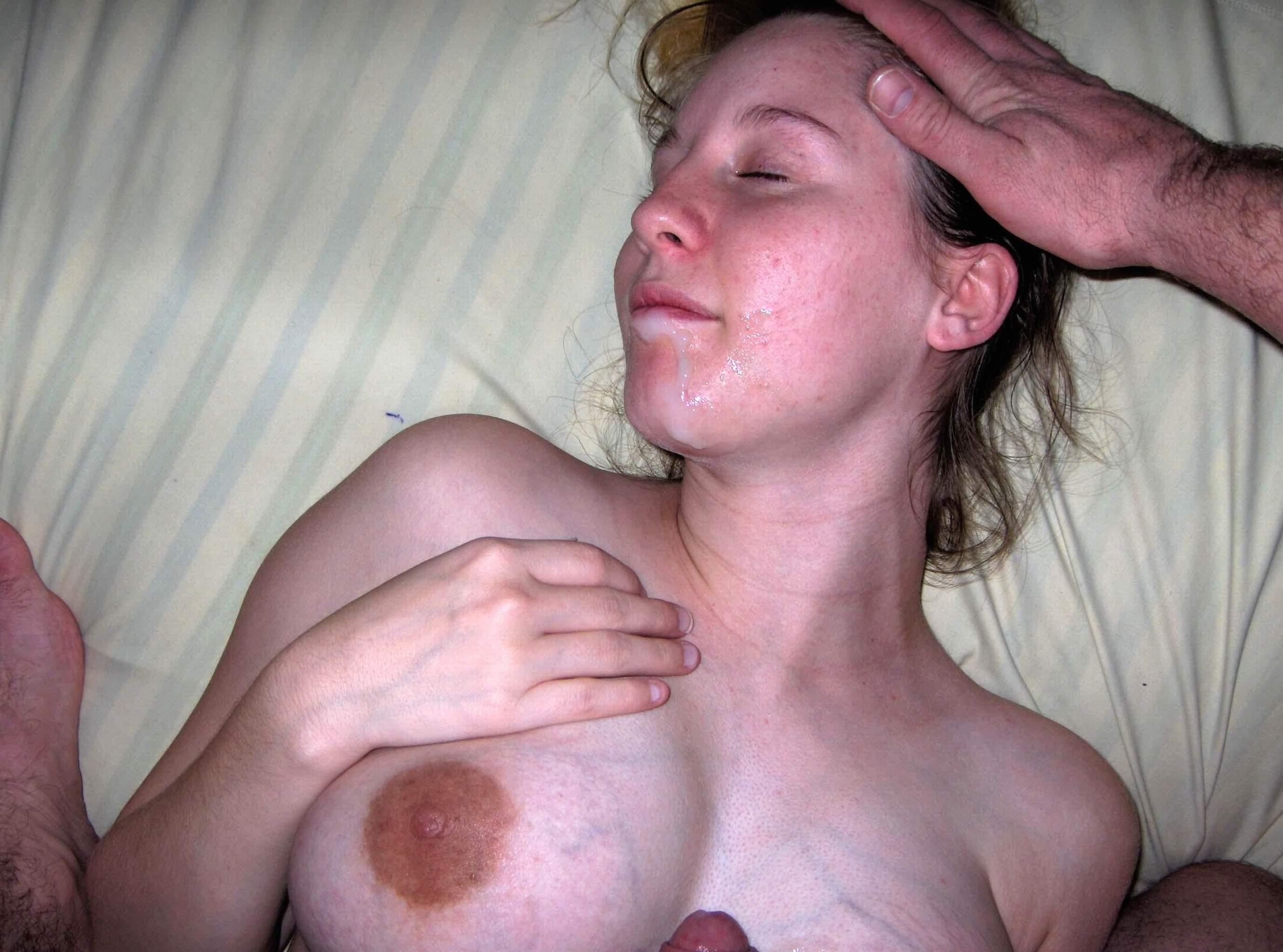 Multiple cum shot on tits